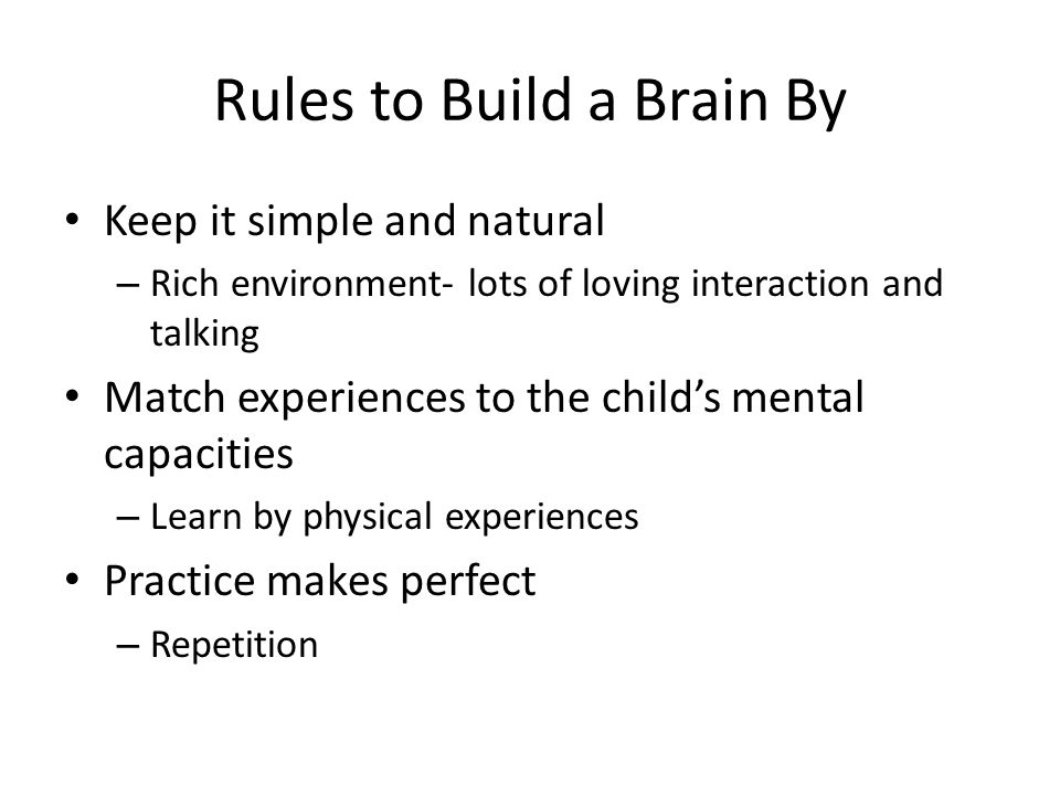 Rules to Build a Brain By