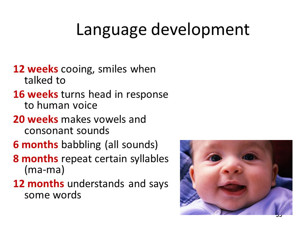 Language development 12 weeks cooing, smiles when talked to