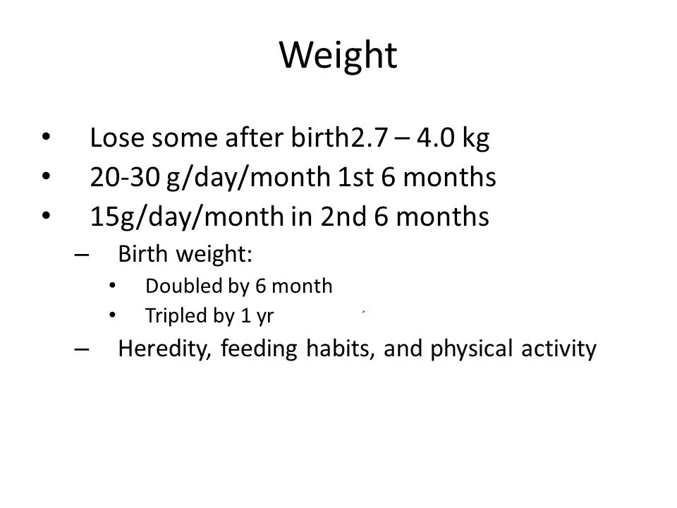 Weight Lose some after birth2.7 – 4.0 kg