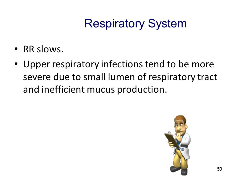 Respiratory System RR slows.