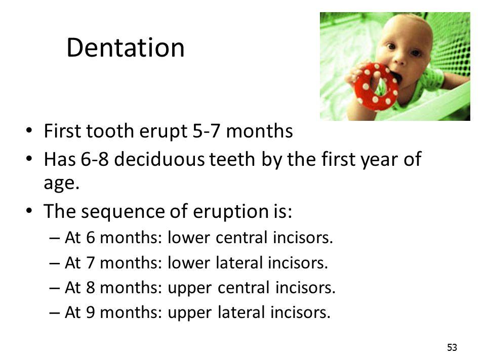 Dentation First tooth erupt 5-7 months