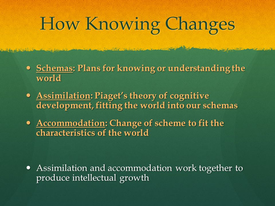 How Knowing Changes Schemas: Plans for knowing or understanding the world.