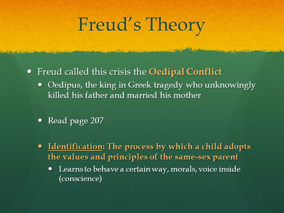 Freud's Theory Freud called this crisis the Oedipal Conflict