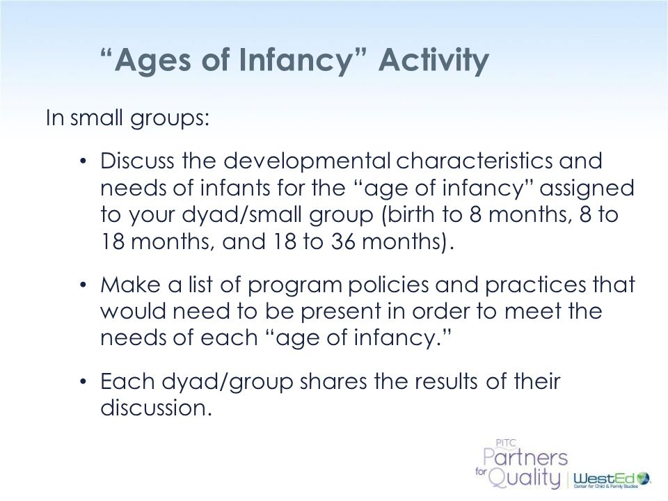 Ages of Infancy Activity