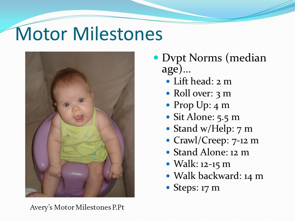 Motor Milestones Dvpt Norms (median age)… Lift head: 2 m