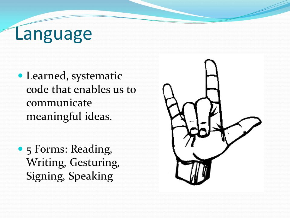 Language Learned, systematic code that enables us to communicate meaningful ideas.