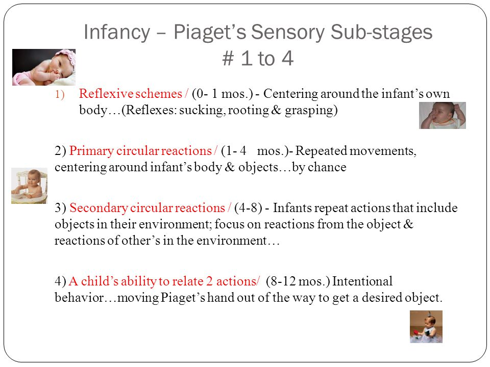 Infancy – Piaget's Sensory Sub-stages # 1 to 4