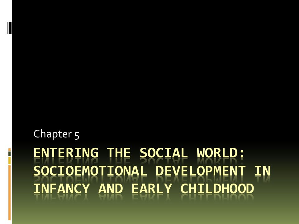 Chapter 5 Entering the social world: Socioemotional development in infancy and early childhood