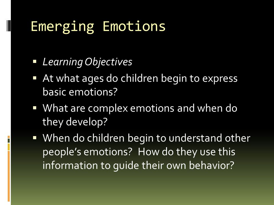Emerging Emotions Learning Objectives