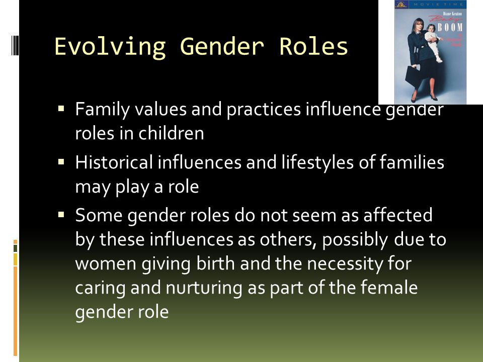 Evolving Gender Roles Family values and practices influence gender roles in children.