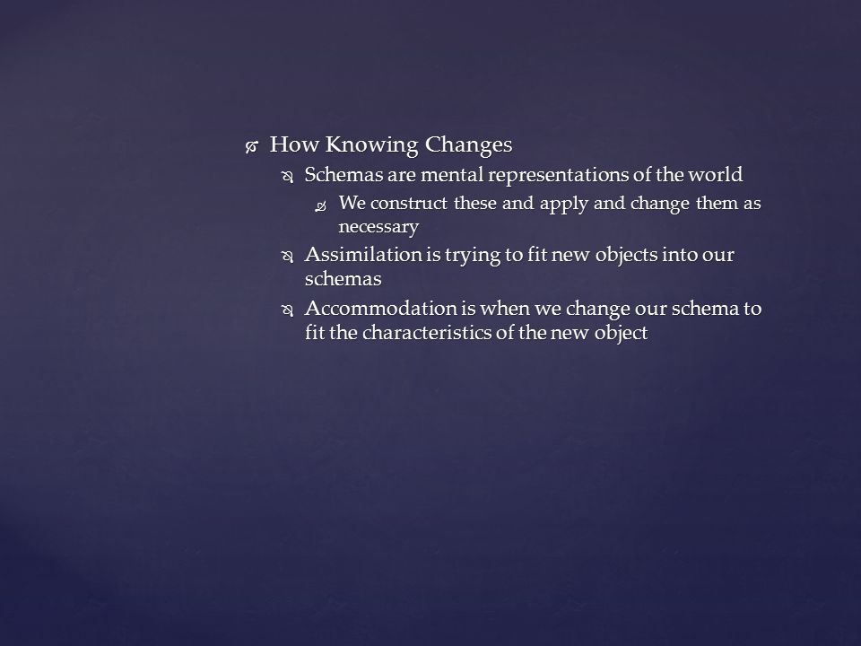 How Knowing Changes Schemas are mental representations of the world