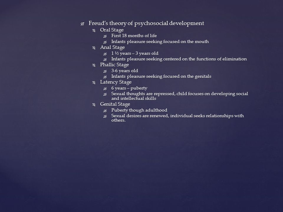 Freud's theory of psychosocial development