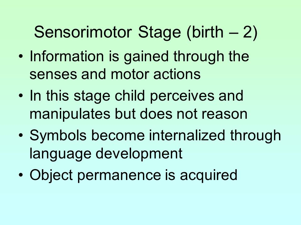 Sensorimotor Stage (birth – 2)