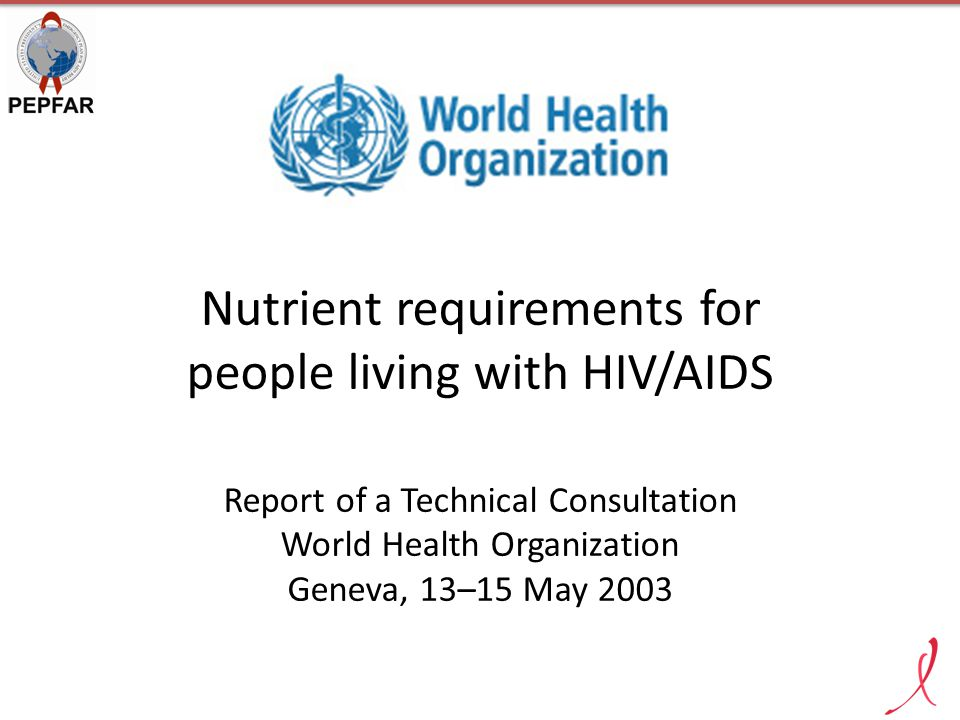 Nutrient requirements for people living with HIV/AIDS