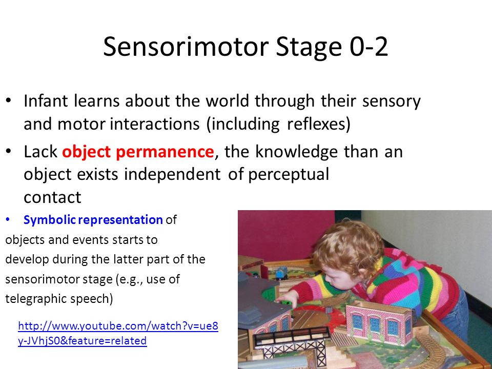 Sensorimotor Stage 0-2 Infant learns about the world through their sensory and motor interactions (including reflexes)