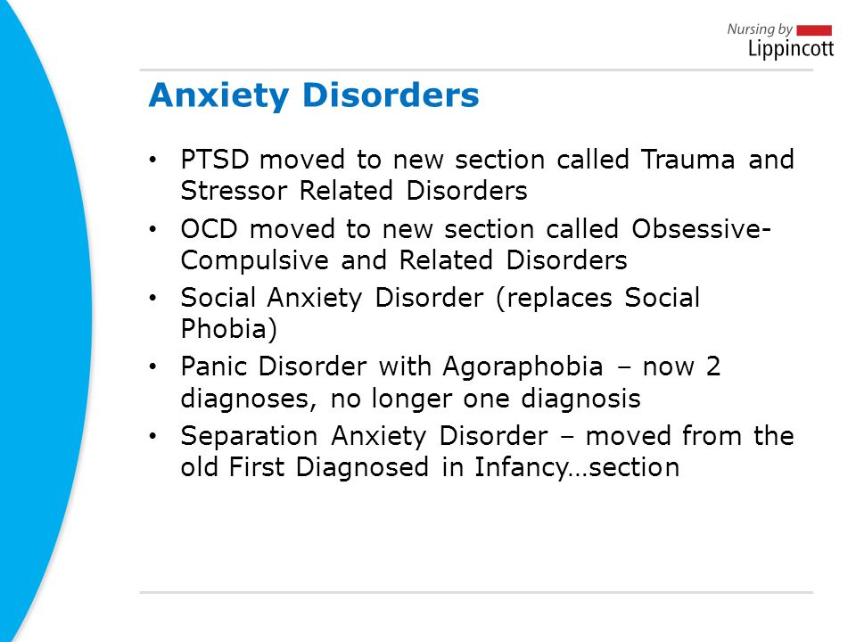 Anxiety Disorders PTSD moved to new section called Trauma and Stressor Related Disorders.