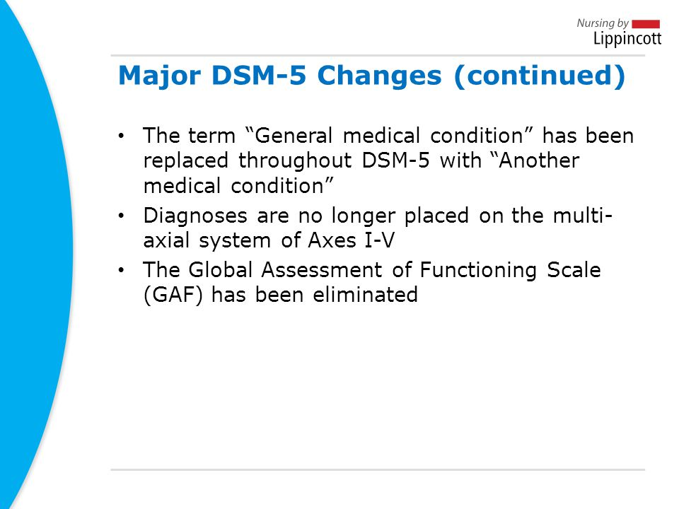 Major DSM-5 Changes (continued)