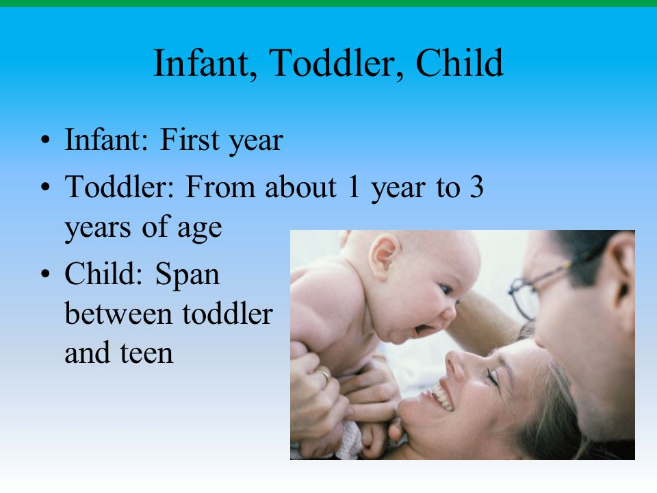 Infant, Toddler, Child Infant: First year