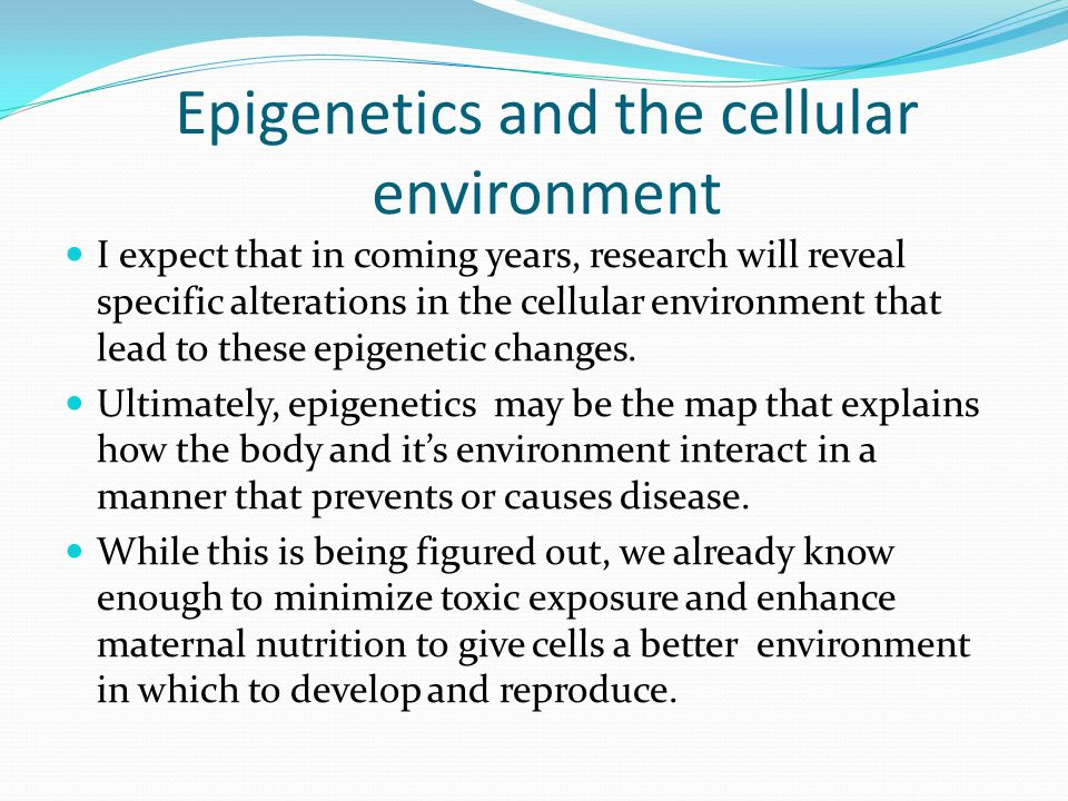 Epigenetics and the cellular environment