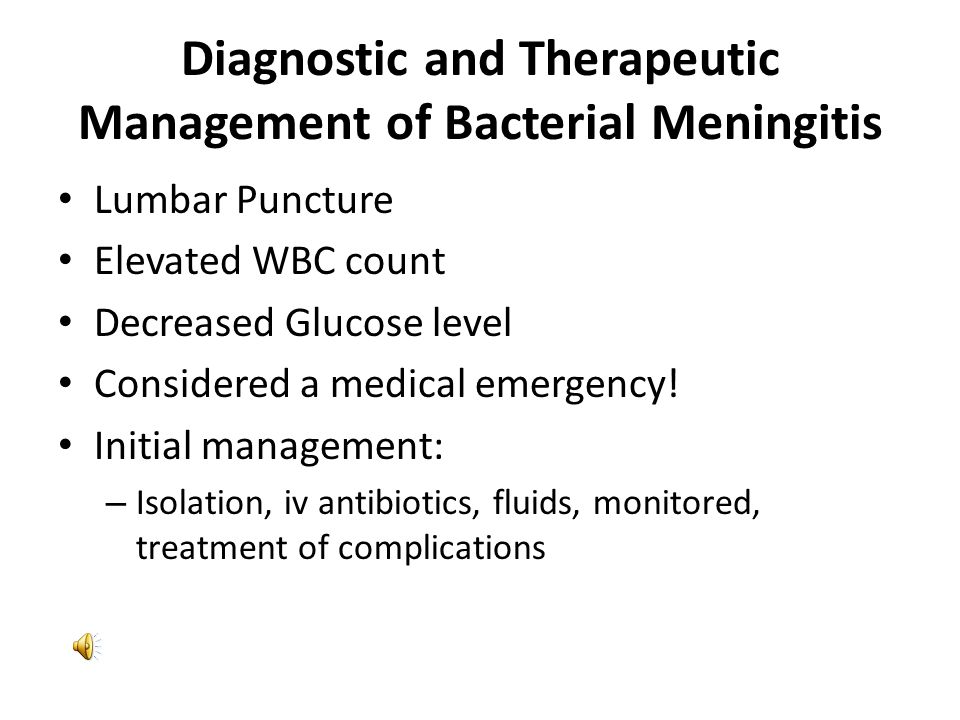 Diagnostic and Therapeutic Management of Bacterial Meningitis