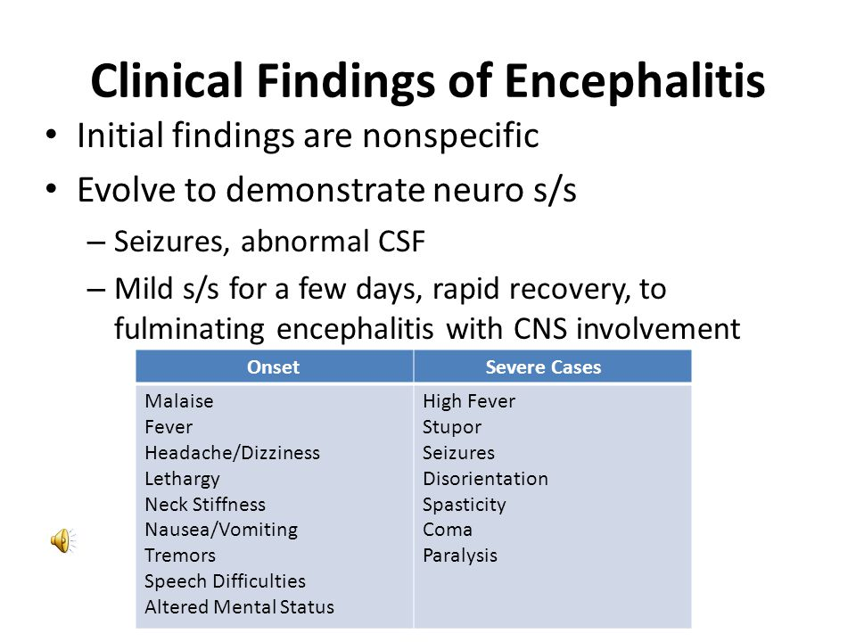 Clinical Findings of Encephalitis