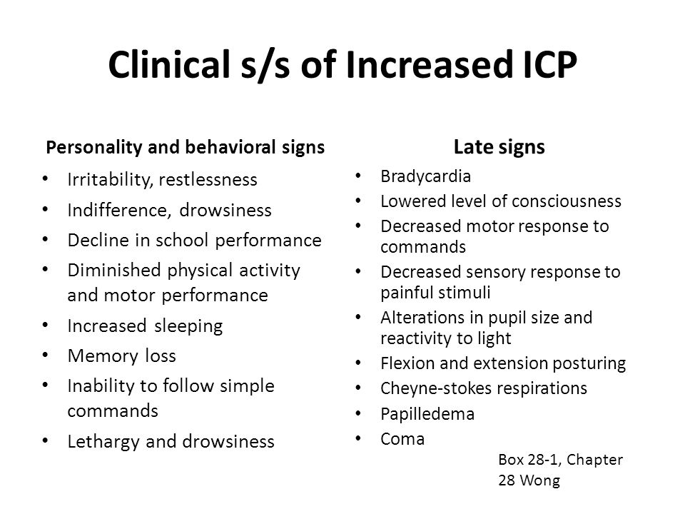 Clinical s/s of Increased ICP