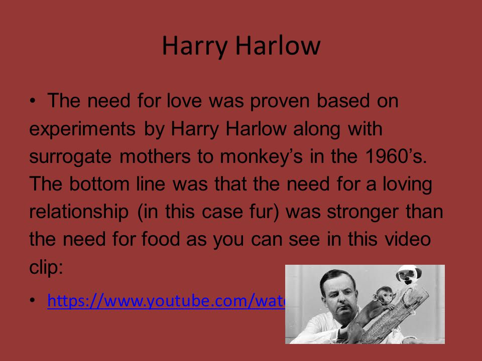 a look at harry harlows experiments on the nature of love The developmental life stage that most closely resembles the nature of  when we look into a mirror we are therefore  fidelity and devotion love and.