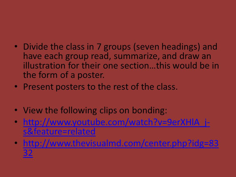 Divide the class in 7 groups (seven headings) and have each group read, summarize, and draw an illustration for their one section…this would be in the form of a poster.