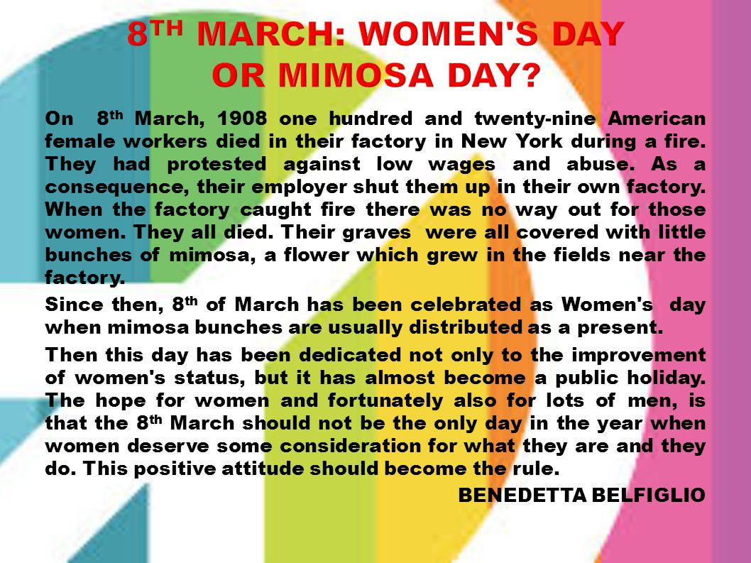 8th March: Women s Day or Mimosa Day