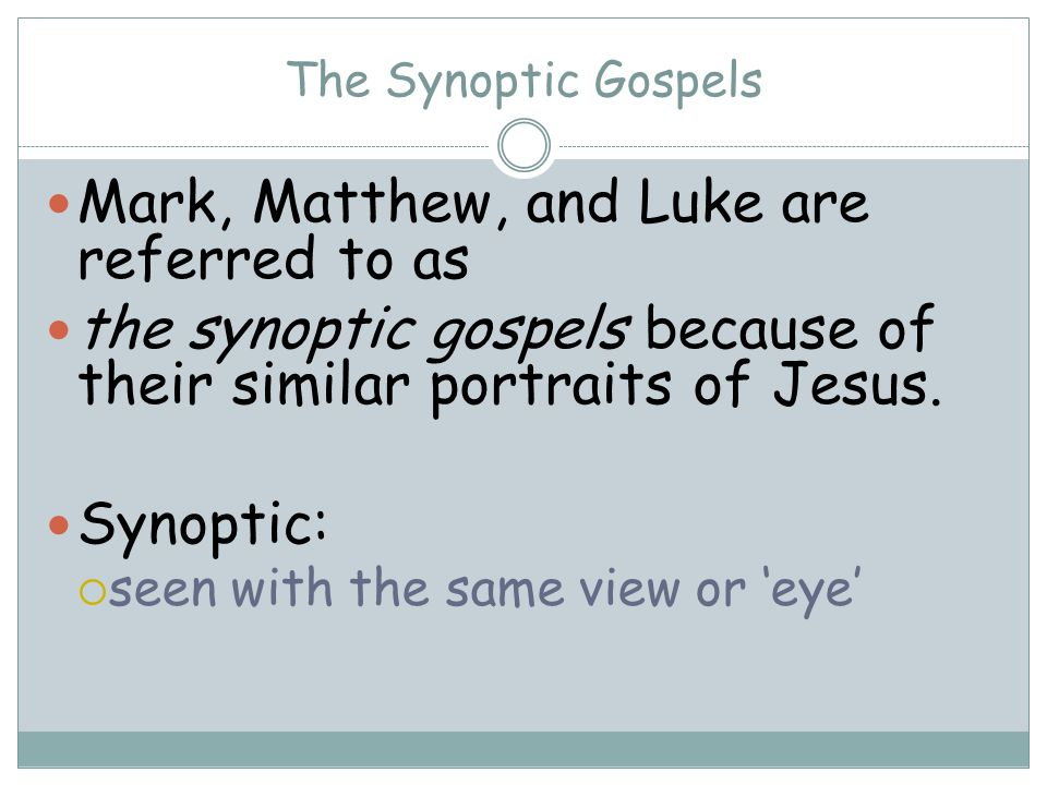 Mark, Matthew, and Luke are referred to as