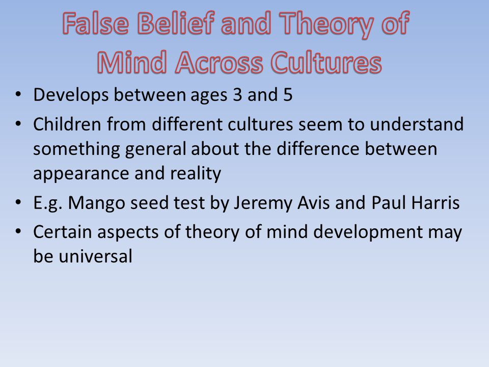 False Belief and Theory of