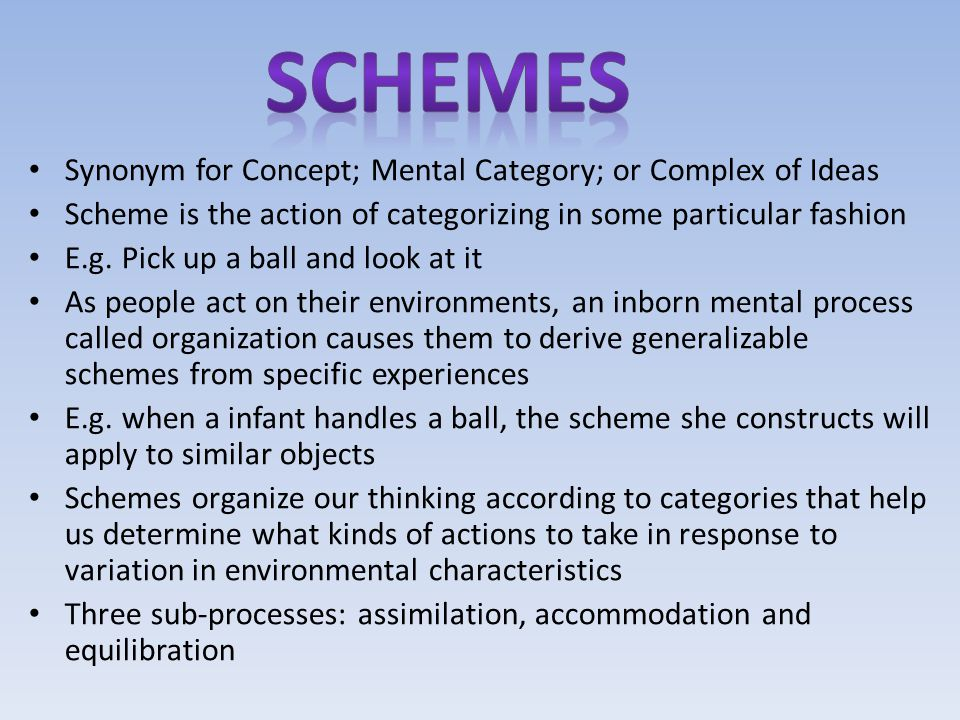Schemes Synonym for Concept; Mental Category; or Complex of Ideas