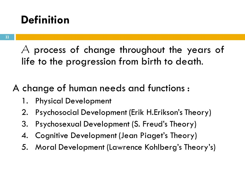 Definition A change of human needs and functions :