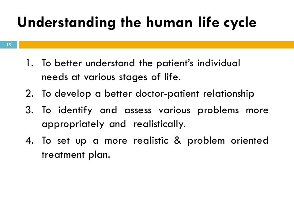 Understanding the human life cycle