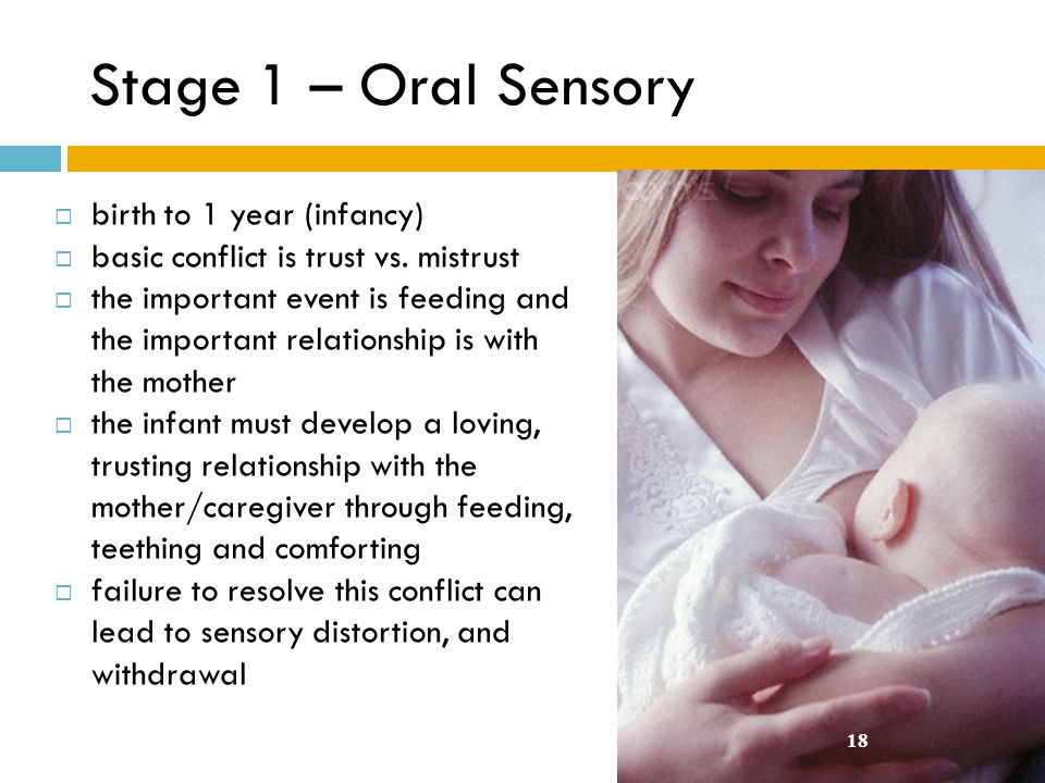Stage 1 – Oral Sensory birth to 1 year (infancy)