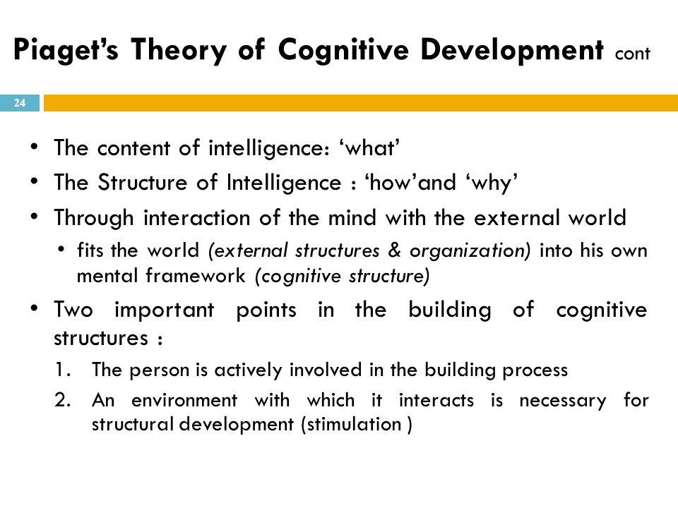 Piaget's Theory of Cognitive Development cont