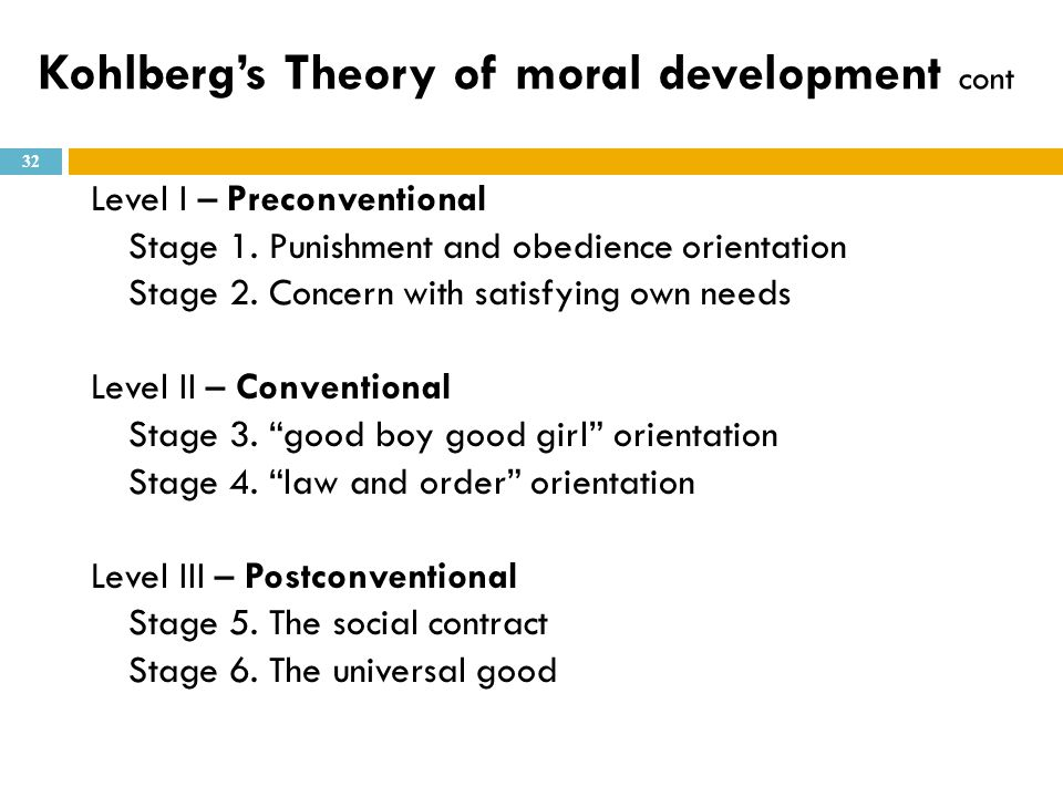 Kohlberg's Theory of moral development cont
