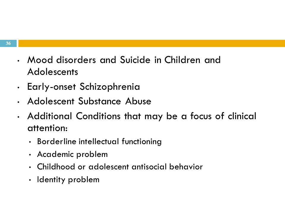 Mood disorders and Suicide in Children and Adolescents