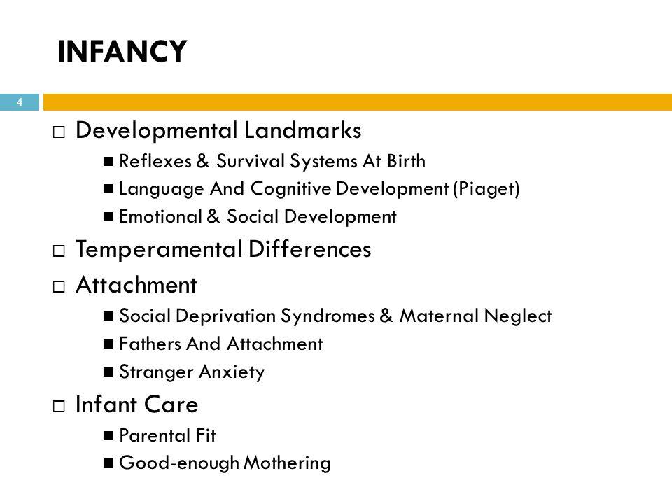 INFANCY Developmental Landmarks Temperamental Differences Attachment