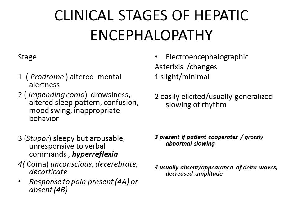 CLINICAL STAGES OF HEPATIC ENCEPHALOPATHY