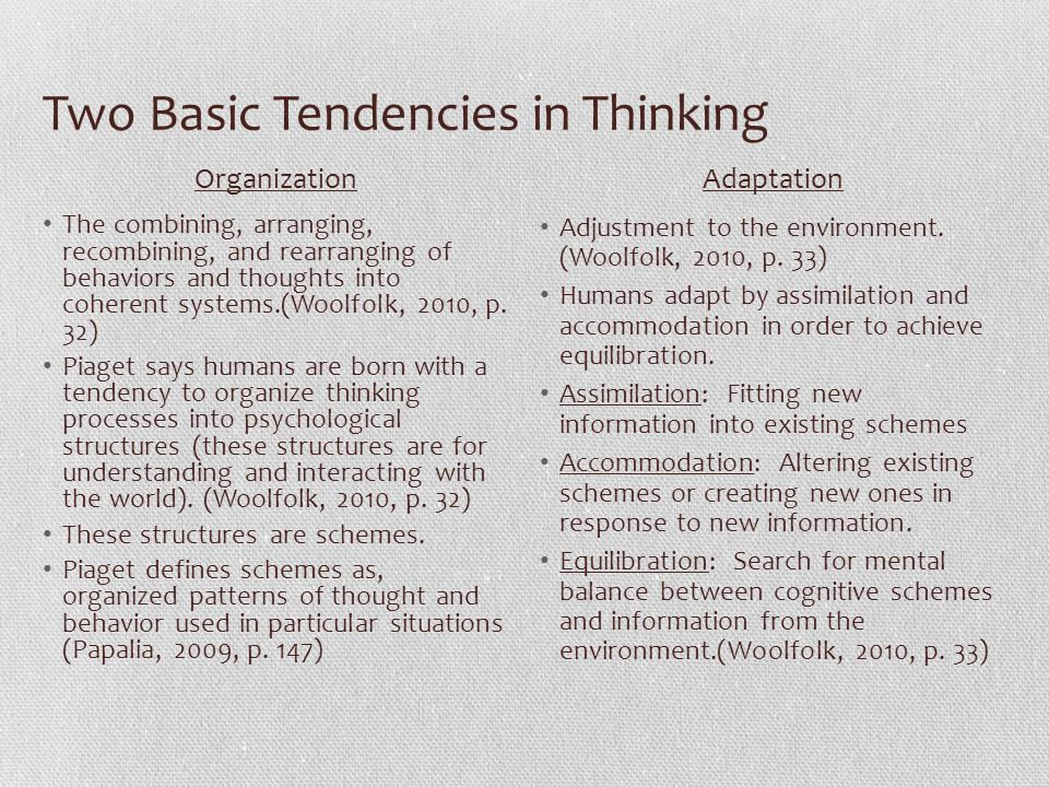 Two Basic Tendencies in Thinking