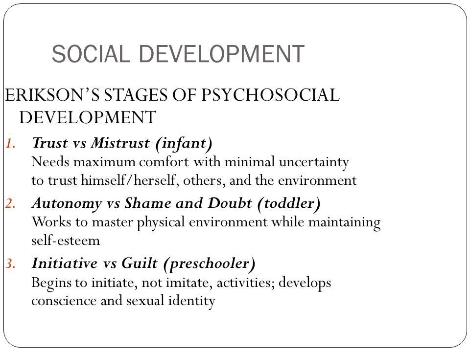 SOCIAL DEVELOPMENT ERIKSON'S STAGES OF PSYCHOSOCIAL DEVELOPMENT