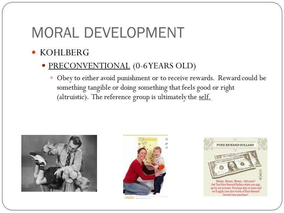 MORAL DEVELOPMENT KOHLBERG PRECONVENTIONAL (0-6 YEARS OLD)