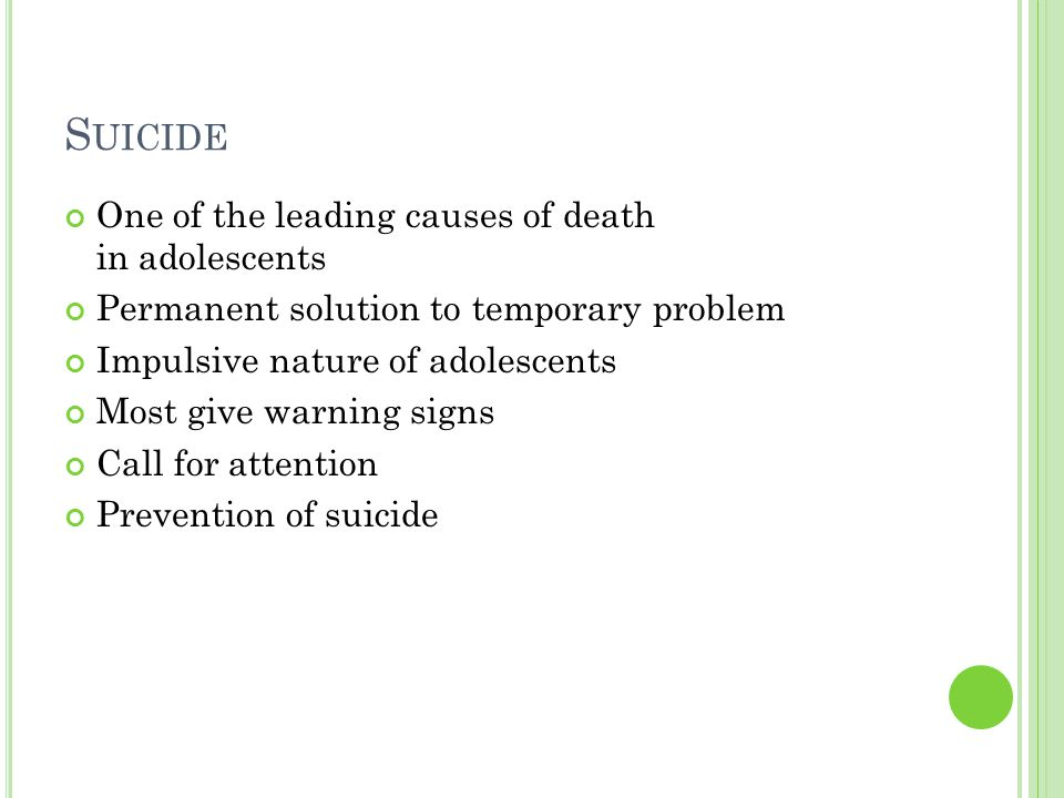 an analysis of the causes symptoms and awareness of suicidal adolescents Suicidal behavior in children and adolescents nadine j kaslow, phd, abpp setting the stage what are the common myths about suicide in children and adolescents medication management of symptoms.