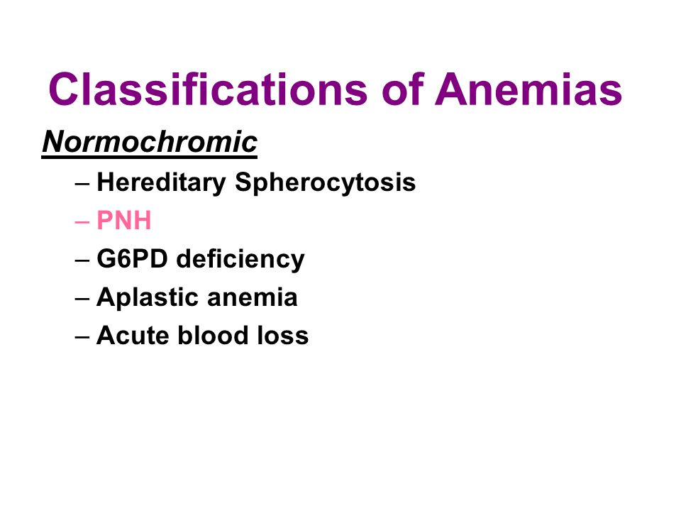Classifications of Anemias