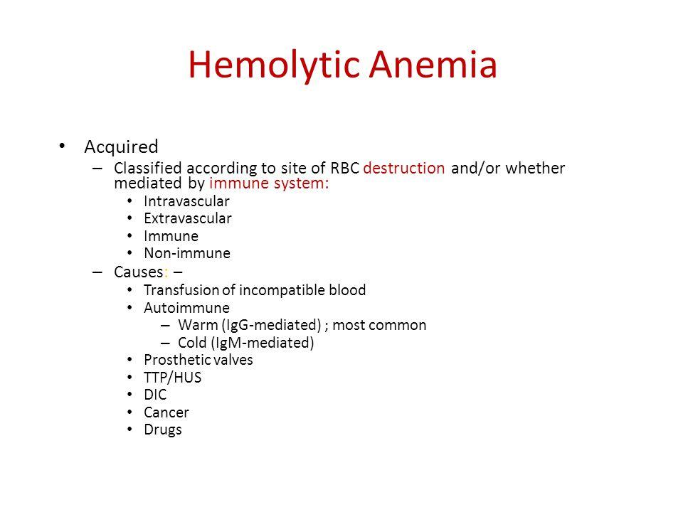 Hemolytic Anemia Acquired