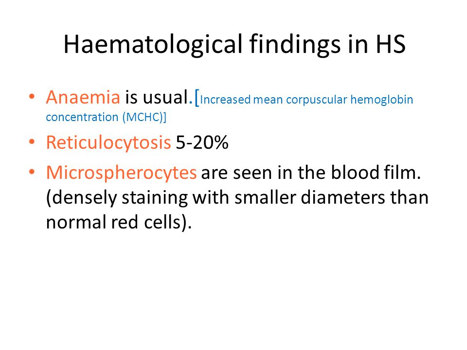 Haematological findings in HS