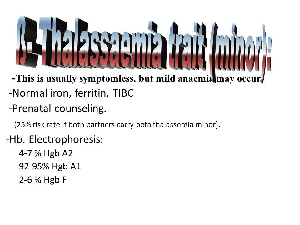 ß- Thalassaemia trait (minor):