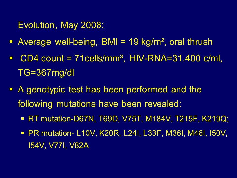 Average well-being, BMI = 19 kg/m², oral thrush
