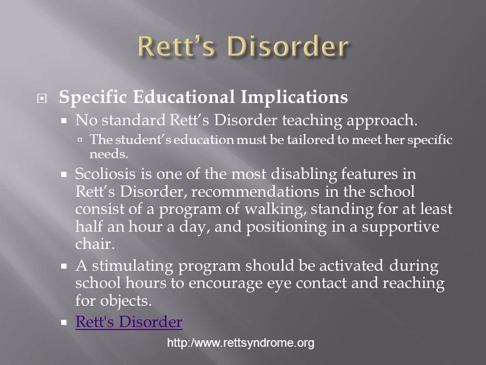 Rett's Disorder Specific Educational Implications